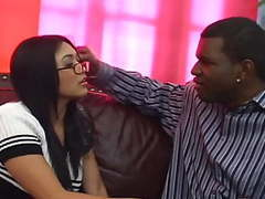 Asian slu with glasses drilled by big black dick clip