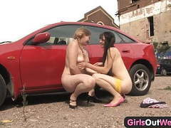 Girls out west - busty lesbians at the car park movies