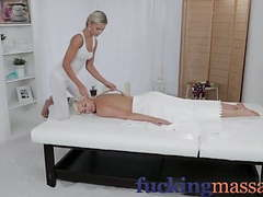 Massage rooms horny young lesbians enjoy oily finger fucking movies at freelingerie.us