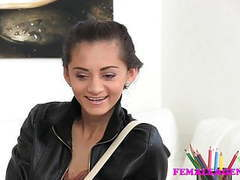 Femaleagent slim russian takes big dildo on agents couch tubes