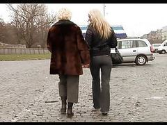 Cute young blonde girl seduces mature woman tubes