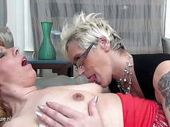 Three old and young lesbians love movies at find-best-lingerie.com