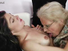 Old grandmother turns young girl into lesbian movies