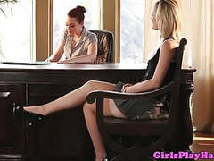 Young lesbian babe eats bosses pussy for a job tubes