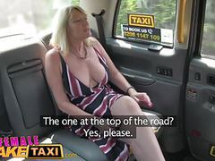 Female fake taxi blonde milf cums on sexy redheads tongue tubes