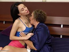 Granny at lesbian sex with busty girl movies