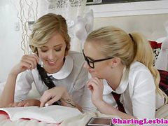 Lesbian schoolgirls scissor after fingering movies at lingerie-mania.com