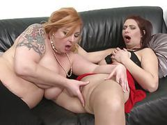 Mature busty mothers fuck each other with double dildo movies at kilogirls.com