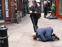 Mistress evilyne cruel engl femdom fed like a dog in public movies