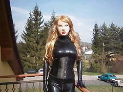 Masked latex doll with blond wig videos