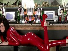 Lily in red latex catsuit videos