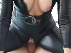 Blonde slut in black latex spandex catsuit fucked movies at kilovideos.com