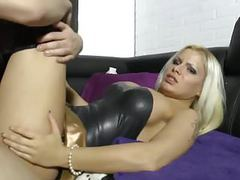 Blonde german slut in black latex fucks boyfriend movies at nastyadult.info