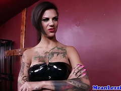 Tattooed latex dominatrix fucks new mistress videos
