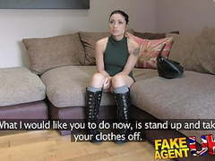 Fakeagentuk agent gives petite web cam student a spunk shot movies at freekilosex.com