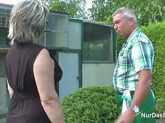 German grandpa and grandma fuck hard in garden tubes
