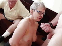 Granny & husband invite a young stud to fuck her clip