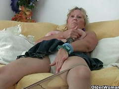 Grandma with big tits masturbates and gets finger fucked clip