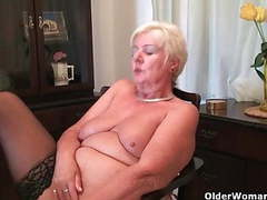 64 year old and british granny sandie rubs her old pussy tubes