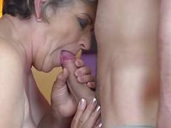 Granny gets young cock in hairy old cunt videos