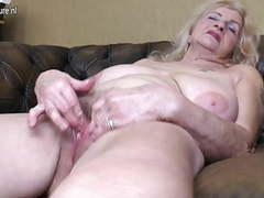 Naughty granny playing with her hairy pussy videos