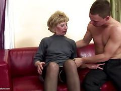 Lovely mother gets anal sex and pissing from son tubes