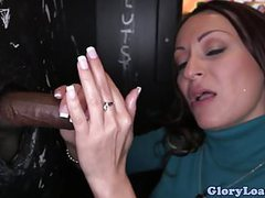 Gloryhole beauty wanks two cocks till facial movies at kilogirls.com