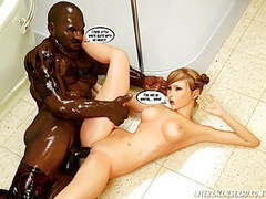 Big trouble in bathroom 3d interracial tubes