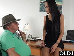 Caught grandpa having sex with young brunette at her job videos