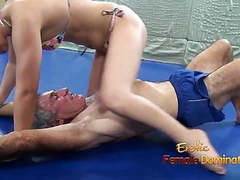 Lana wrestles in bikini with elderly man tubes
