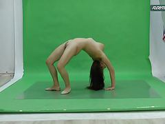 Big boobs nicole on the green screen spreading movies at find-best-panties.com