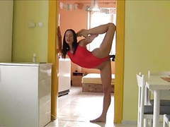 Flexible brunette videos