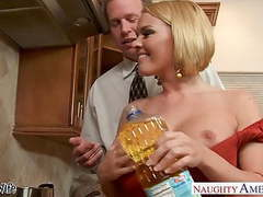 Chesty wife krissy lynn slurping cum in the kitchen movies at find-best-pussy.com