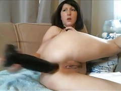 Diana - webcam milf shoves a huge black dildo in her ass tubes