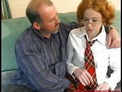 Redhead teen with glasses in school uniform fucked tubes