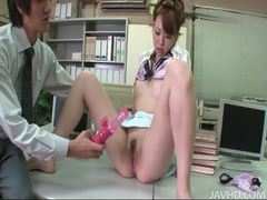 Beautiful asian milf gets her juicy pussy filled with toys in the office movies at sgirls.net