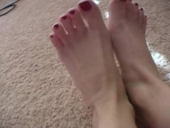 Painted red toes are sexy close up videos
