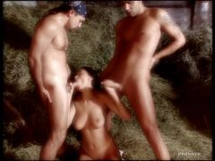 Double penetration on the hay in the barn movies at kilovideos.com