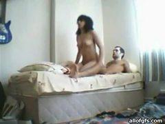 Horny latina couple enjoying some hardcore fucking on the bed movies