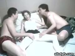 Naughty amateur getting groped by two horny guys videos