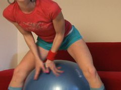 Skinny cute teen candy plays on exercise ball videos
