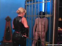 Saucy milf dominatrix cageds her masked sex slave to tease him videos