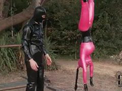 Head to toe latex girl bound and hung upside down videos