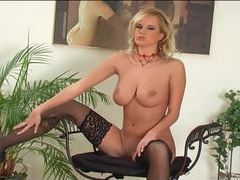 Blonde with huge boobs stripping in black lingerie movies at kilopics.net