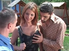 Outdoor anal threesome porn with hot chick videos