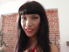 Hottie in short red dress and red lipstick videos