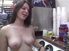 Teen flashes her tits in public places videos