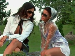 Women in smoking hot clothes outdoor play videos