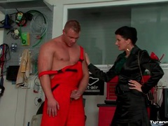 Mechanic submits to mistress and gets a footjob videos