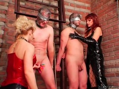 Men bound and abused by beauties in latex movies at find-best-panties.com